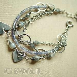 srebrna bransoletka z iolitem, delikatna, kobieca, oksydowana, boho, lekka