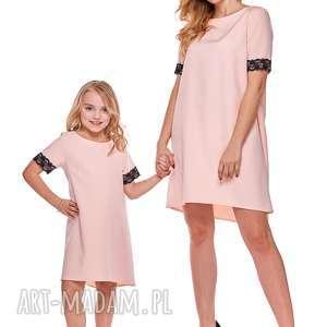 mama i córka trapezowa sukienka z koronką dla córki ld12 3 - koronka
