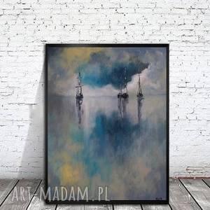 morze w błękitach -obraz akrylowy formatu 30/40 cm, obraz, łodzie, morze