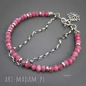 różowy turmalin z przekładkami, turmalin, srebro, bransoletka, rubelit