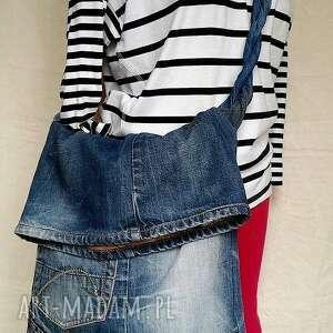 Torba Z Jeansu Plecionym Uchwytem, ekotorba, jeans, ćwieki, bawełna, plecionka