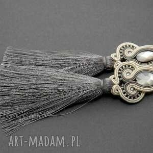 kolczyki sutasz z muszlami, sznurek, eleganckie, wiszące, wieczorowe, długie, chwost