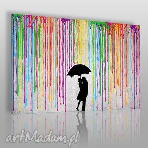 obrazy obraz na płótnie - deszcz kolory para 120x80 cm 46401, deszcz, kolory