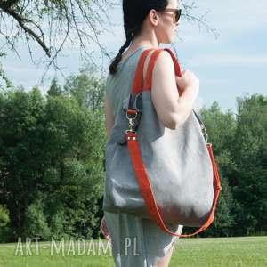 na ramię torba hobo xxl - szary, pomarańcz, hobo, alcantara