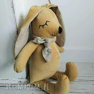 przytulanka dziecięca królik musztarda, musztardowy, na prezent