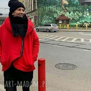 Kurtka damska na zamek czerwona trzyforu kurtki, bluzki