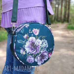 pod choinkę prezenty, round bag - kwiaty, elegancka, nowoczesna, kwiaty, retro