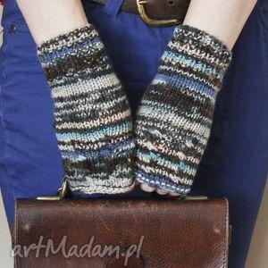 handmade rękawiczki mitenki szare z turkusem