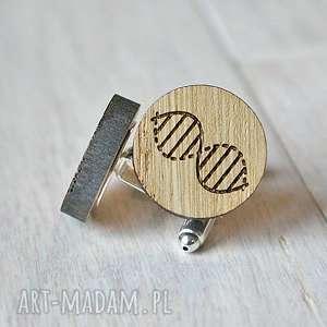 Dębowe spinki do mankietów DNA, ekologiczne, drewniane, spinki, dna, drewniane-spinki
