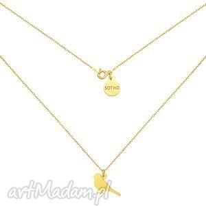 sotho złoty naszyjnik ze słowikiem - łańcuszek, ptaszek