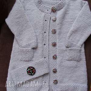 handmade długi sweterek szaraczek z opaską