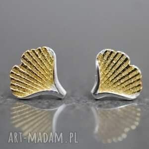 925 srebrne wkrętki Ginkgo , liść, ginko, japonia, srebro, srebrny, złoty