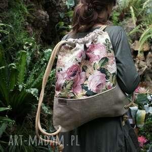 ręcznie zrobione plecak vegan troczek len róże plecionka