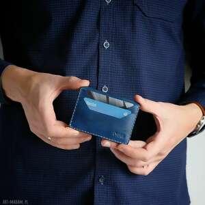 portfele portfel skórzany na karty ręcznie szyty, męski