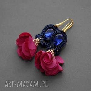 oryginalny prezent, sisu kolczyki sutasz z kwiatkiem, sznurek, eleganckie, wiszące
