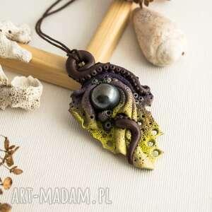 Morski wisior inspirowany rafą koralową, rafa, wisior, naszyjnik, kolorowy, fimo