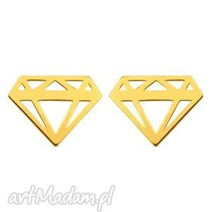 złote kolczyki diamenty sotho - minimalistyczne, geometryczne, złota