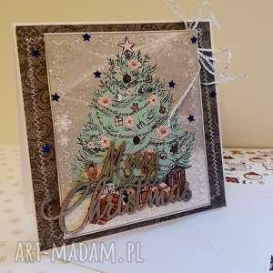 kartka świąteczna w stylu shabby chic- choinka, święta, szycie, kartki