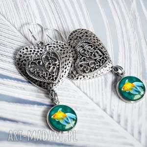 kolczyki serca - ze złotą rybką, rybka, serce, serduszko, wiszące, długie, srebrne