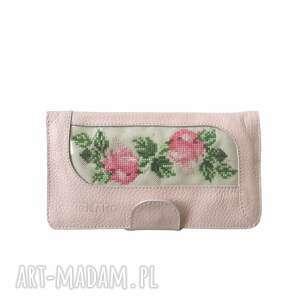 Skórzana portmonetka z ręcznym haftem portfele tenaro skórzana