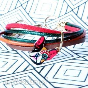 bransoletka buldog francuski skórzana z zawieszką, skóra, naturalna, sznurki, rzemyki
