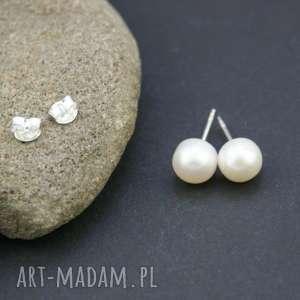 Kolczyki srebro 925 perła naturalna biała, kolczyki, srebrne, wkrętki, perełki