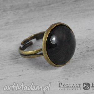 pierścionek z kaboszonem, ręcznie malowany - pierścionek, kaboszon, szkło