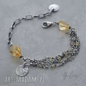 srebrna bransoletka z cytrynem, cytryn, srebro 925, surowa biżuteria