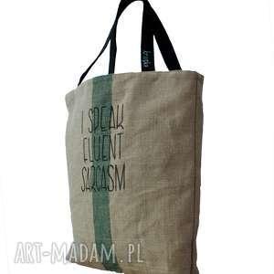 hand-made na ramię duża torba lniana z hasłem i kieszonką speak fluent