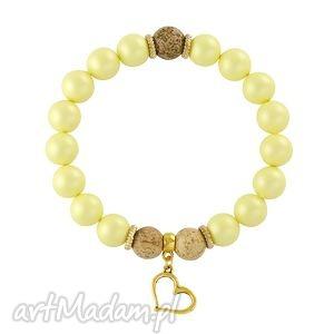 pearly chic - yellow & brown 2 - perły, swarovski, jaspis, serce