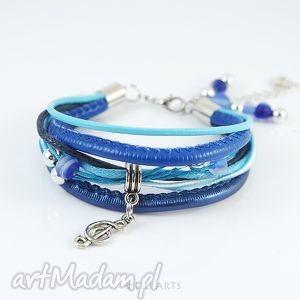 handmade bransoletka - niebieska nutka rzemienie