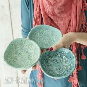 miseczki 3, mięta, zieleń morska, ceramika, miseczki, miska dom
