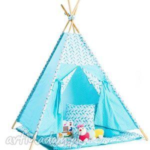 teepee błękitny w ptaszki, teepee, prezent, zabawa, dziecko, wigwam