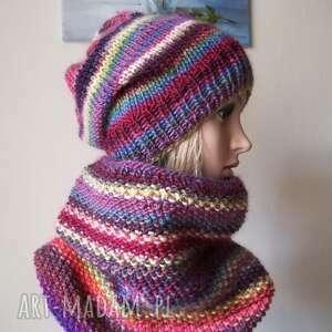 zima na wesoło komplet czapka, komin, rękodzieło, czapka bezszwowa, bezszwowy