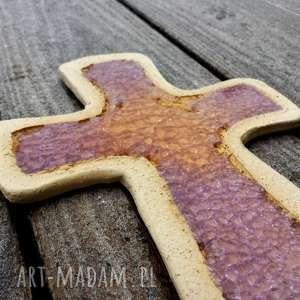 Krzyżyk na ścianę ceramika i szkło 14 - ,krzyż,krzyżyk,szamot,szkło,fusing,