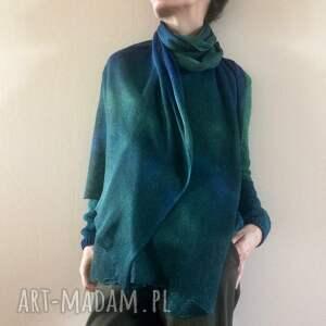 szaliki lniany szal w morskich kolorach, szal, len, szalik, ręcznie barwiony