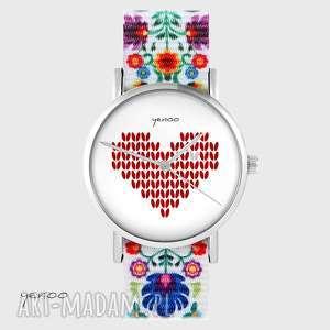 zegarki zegarek - serce dziergane folk biały, nato, zegarek, bransoletka