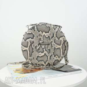 listonoszka w kształcie koła imitacja skóry węża, torebka, listonoszka, mazana, koło