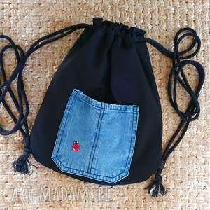 plecak worek z biedronką - ,plecakworek,biedronka,upcyklingowyplecak,kieszonka,jeans,