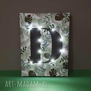świecąca litera monstera liście koliber obraz led personalizowany prezent lampa