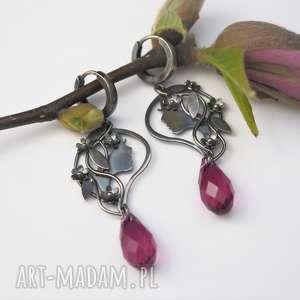 srebrne driady - kwiaty peonii - wiedźmin, swarovski, kolczyki, natura
