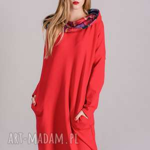 sukienki sukienka z kominem oversize czerwona wzorem, spódnica, bluza, kurtka