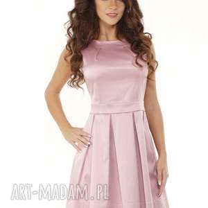 Sukienka kontrafałda kolor brudny różowy, elegancka-sukienka, sukienka-sylwestrowa