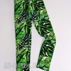 legginsy dla dziewczynki zielone liście, dziewczęce legginsy