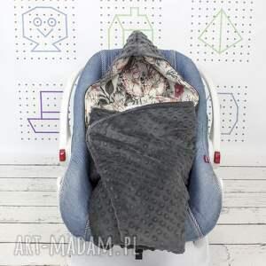 kocyk do nosidła samochodowego vintage garden grey, wózka
