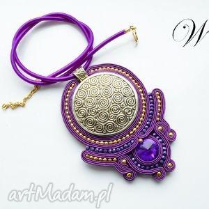 naszyjnik sutasz fioletowo zŁoty - sutasz, naszyjnik, wizytowy, elegancki, modny