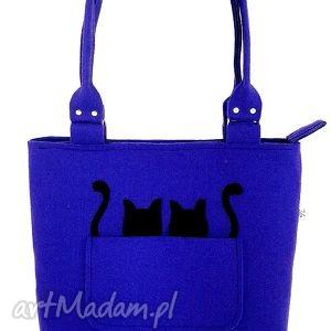 Two black cats on blue - ,torebka,filc,kotki,