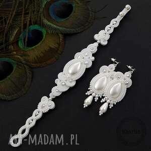 ślub komplet ślubny soutache lacira white, zestaw, ślubny, romantyczny, sutasz