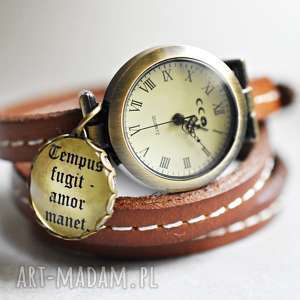Prezent Czas przemija, miłość jest wieczna Zegarek z prawdziwej skóry, zegarek