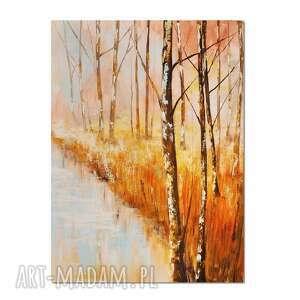 Forest blues 4 , drzewa, las, pejzaż, obraz ręcznie malowany